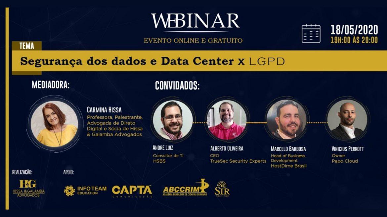 Tá Na Nuvem 115 - Evento GRATUITO Segurança dos dados, Datacenter e LGPD